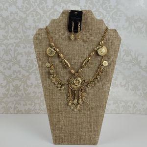 Gold Trendy Necklace w/Earrings by Sosie - NEW